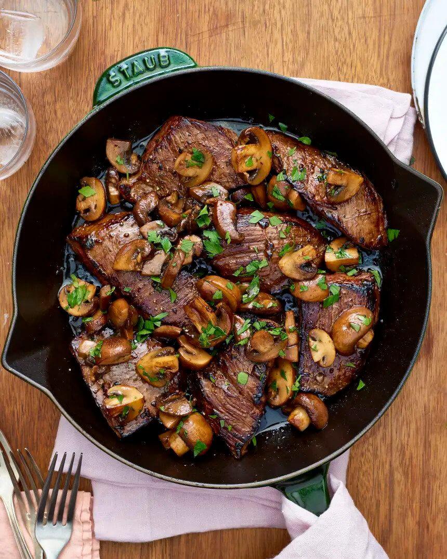 1.Balsamic Glazed Steak Tips and Mushrooms
