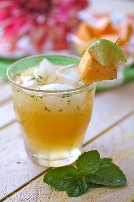 1. Cantaloupe Mint Caipirinha Cocktails