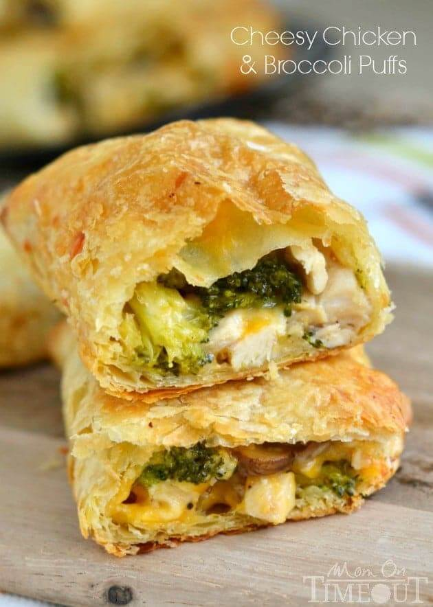 1. Cheesy Chicken and Broccoli Puffs