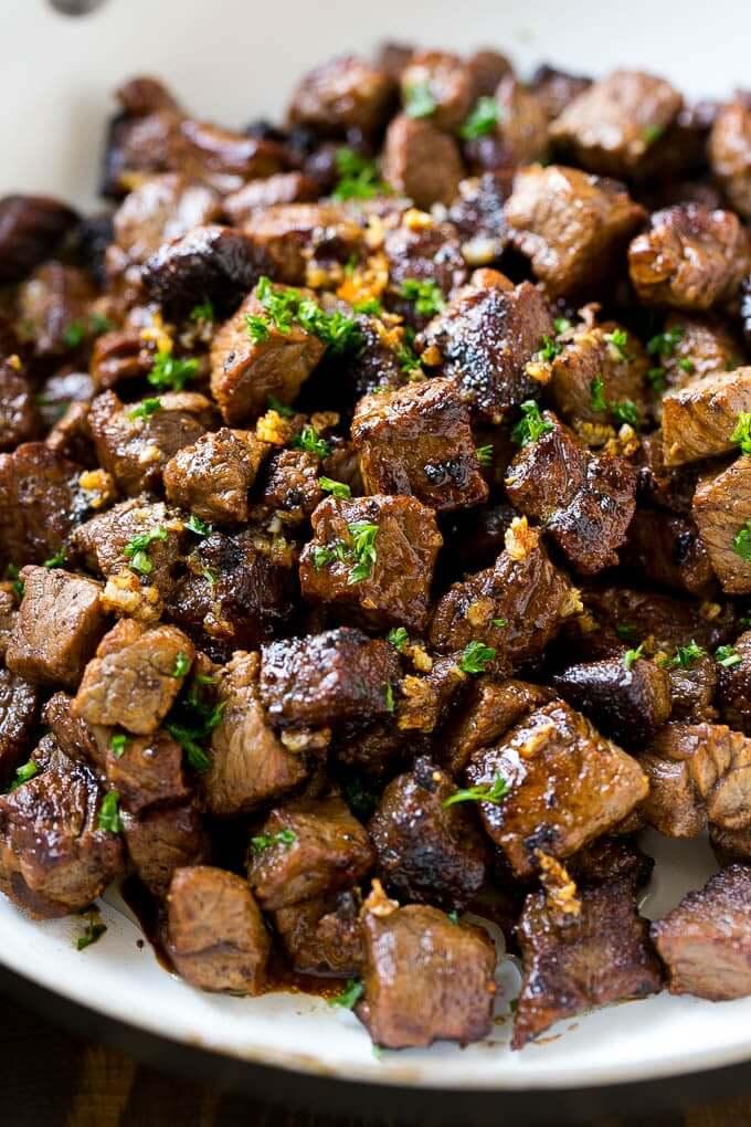 1.Garlic ButterSteak Bites