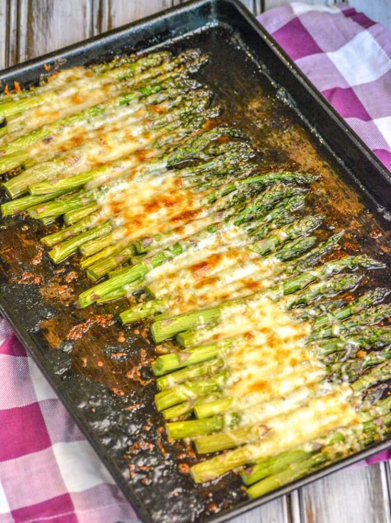 1. Garlic Roasted Cheesy Sheet Pan Asparagus