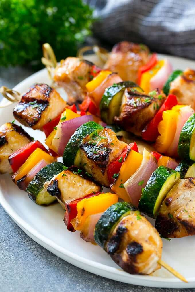 1. Grilled Chicken Kabobs with Red Bell Peppers, Zucchini and Onion