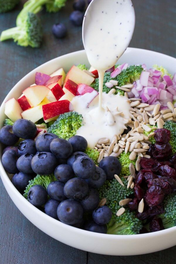 1. No Mayo Broccoli Salad with Blueberries and Apple
