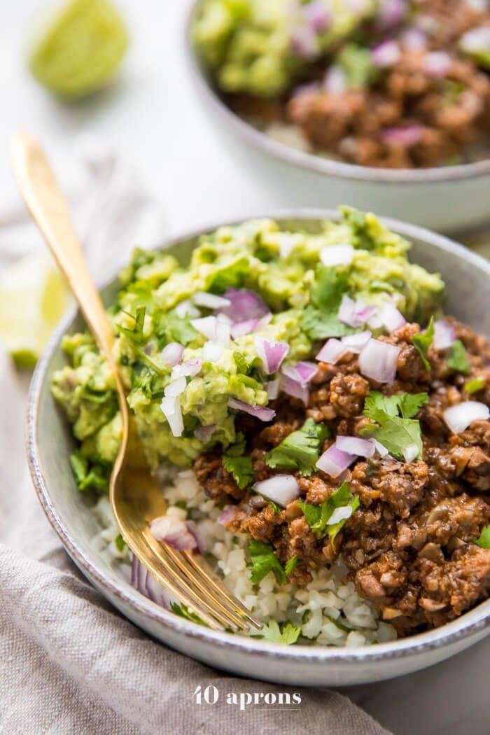10. Chipotle Beef & Avocado Bowls