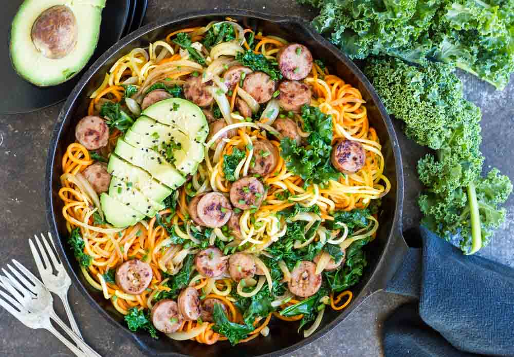 10.One Skillet Sweet Potatoes with Sausage and Kale