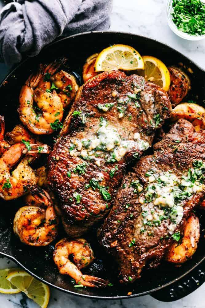 10.Skillet Garlic Butter Steak and Shrimp