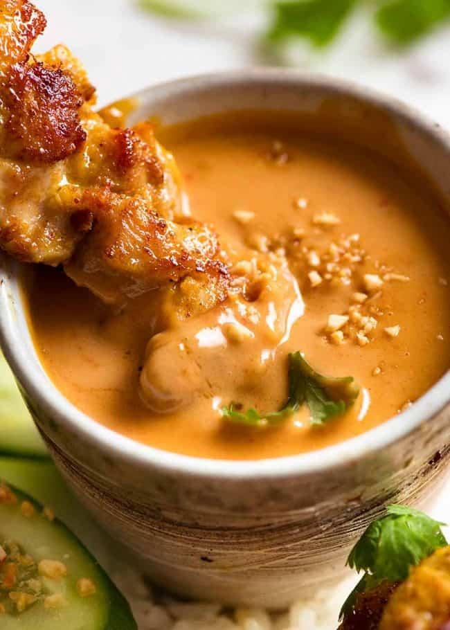 10.Thai Chicken Satay Peanut Butter Sauce