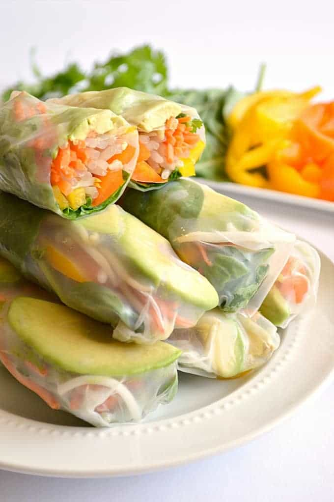 11.Avocado Summer Rolls served with Spicy Cilantro Dipping Sauce