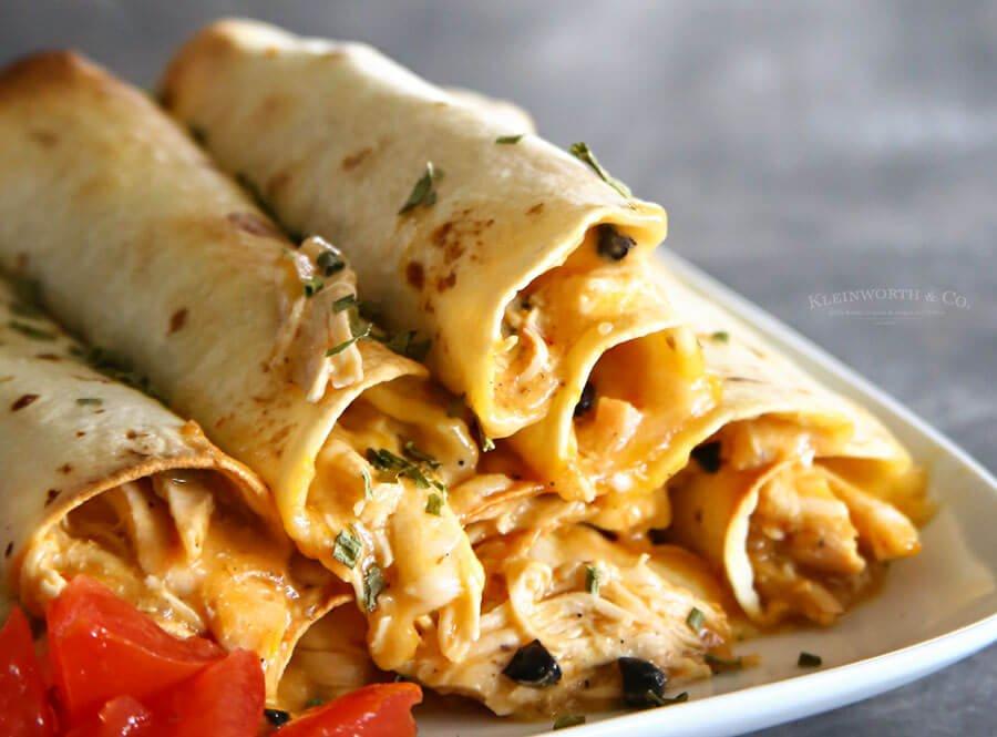 11.Baked Salsa Chicken Taquitos