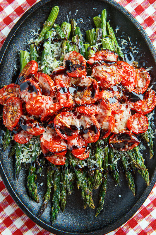 11. Balsamic Parmesan Roasted Asparagus and Tomatoes