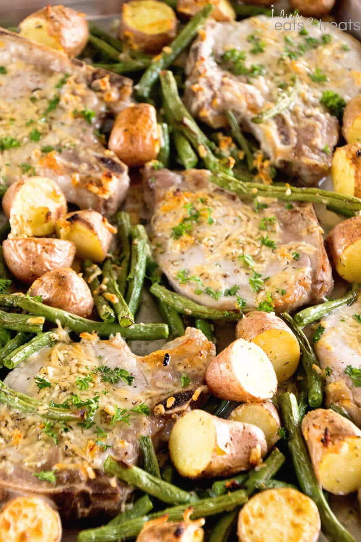 11. One Pan Parmesan Pork Chops and Veggies