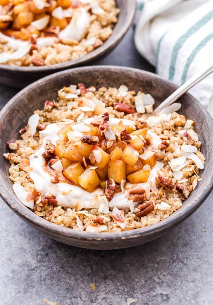 12. Apple Cinnamon Quinoa Breakfast Bowl