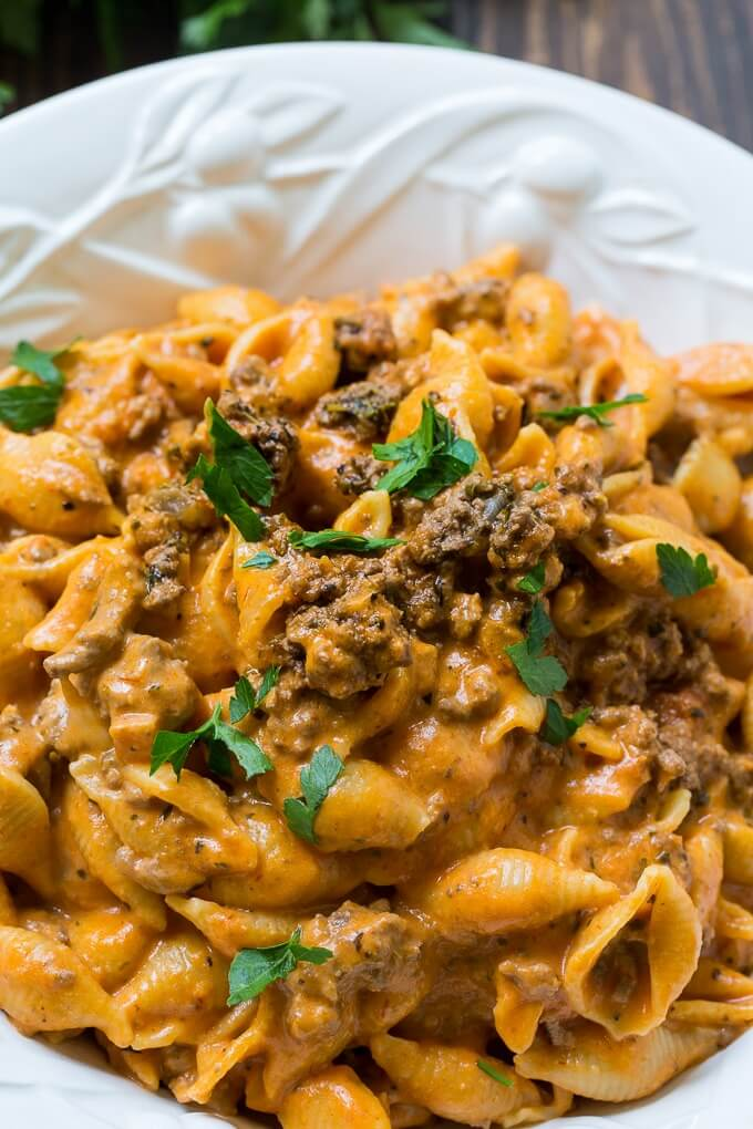 13. Instant Pot Creamy Shells and Beef