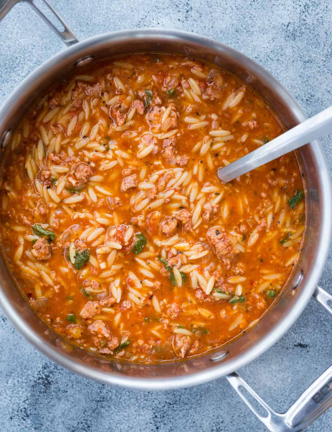 13. One Pot Sausage Orzo Soup with Spicy Italian Sausage