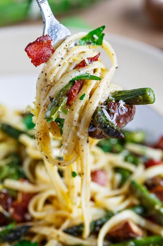 13. Roasted Asparagus and Mushroom Carbonara