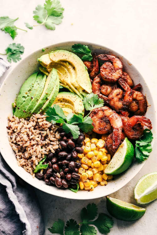 14.Blackened Shrimp Avocado Burrito Bowl