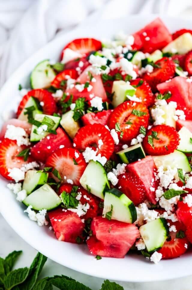 14.Watermelon Strawberry Cucumber Salad