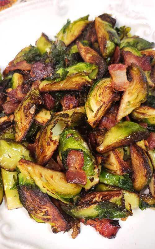 15. Crispy Skillet Brussels Sprouts with Bacon & Garlic Butter