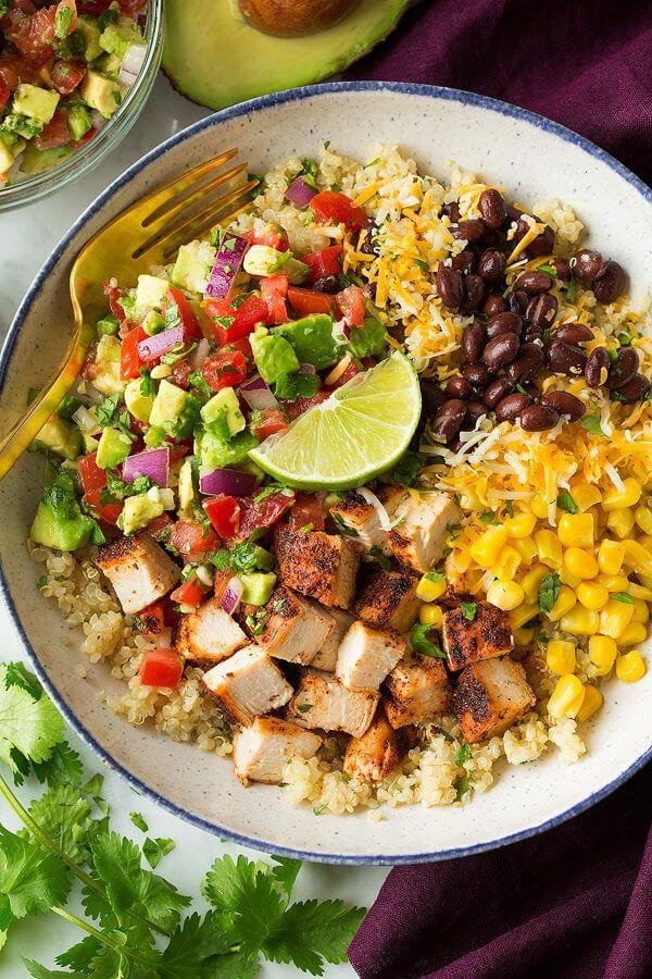 15.Grilled Chicken and Quinoa Burrito Bowls with Avocado Salsa