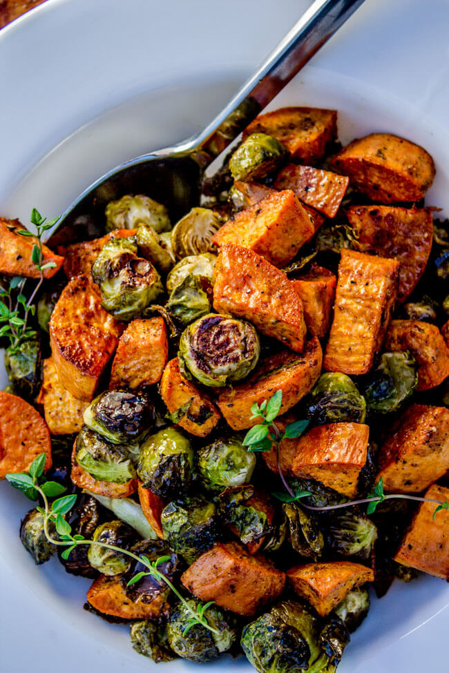 15.Roasted Sweet Potatoes and Brussels Sprouts