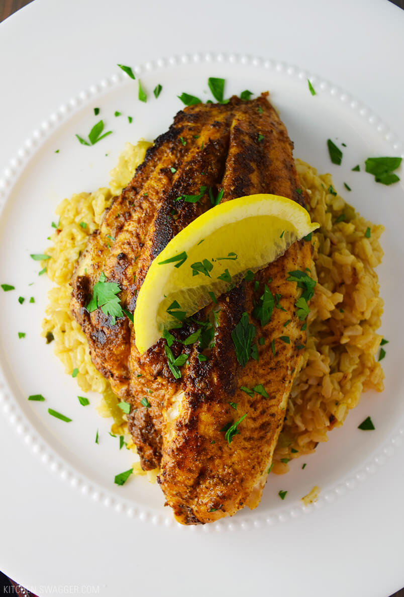 16. Blackened Catfish over Cajun Rice