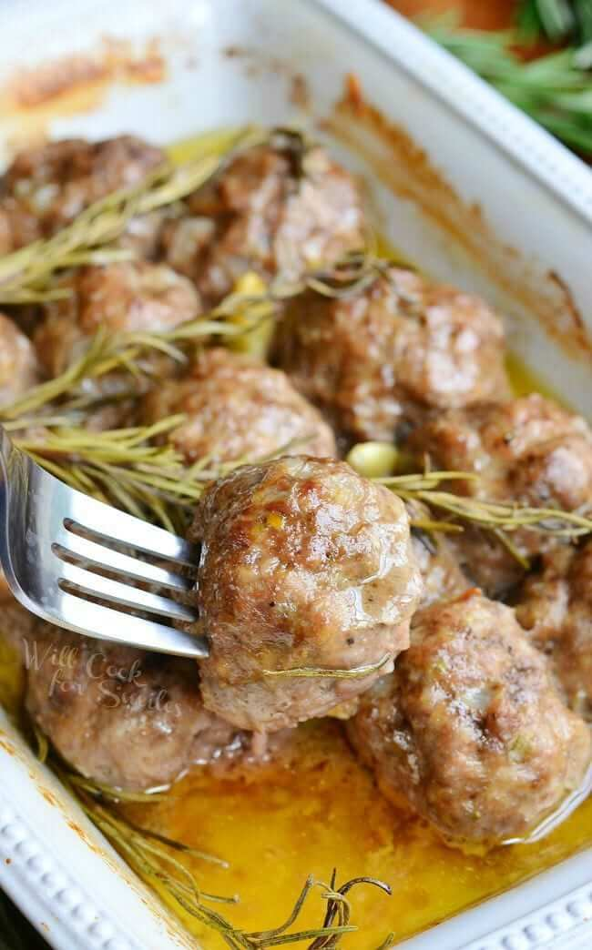 16.Roasted Garlic Rosemary Baked Meatballs