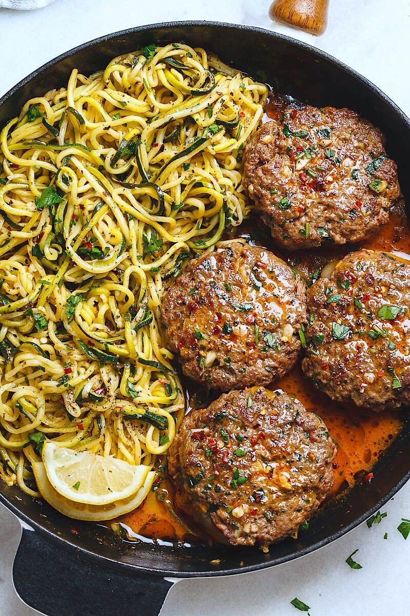 17.Cheesy Garlic Burgers with Lemon Butter Zucchini Noodles