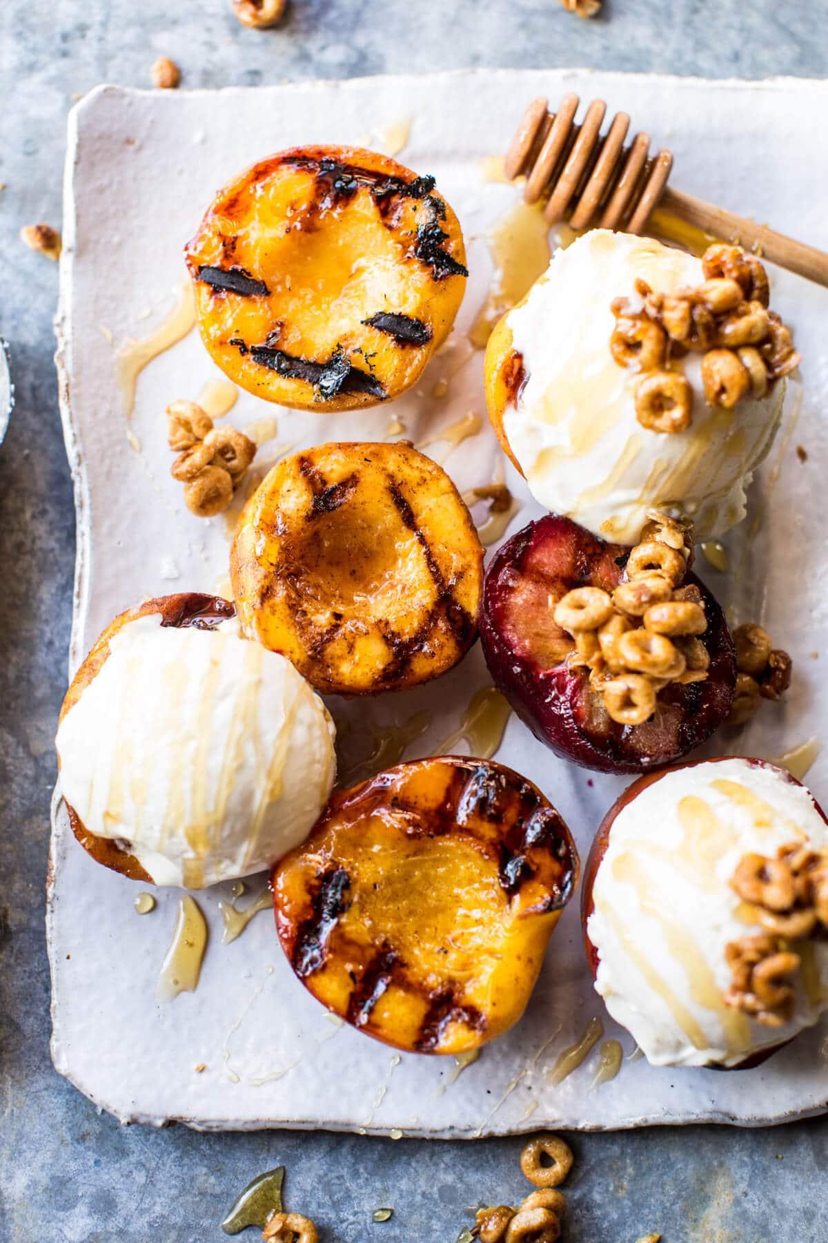 17.Cinnamon Grilled Peaches with Mascarpone Ice Cream
