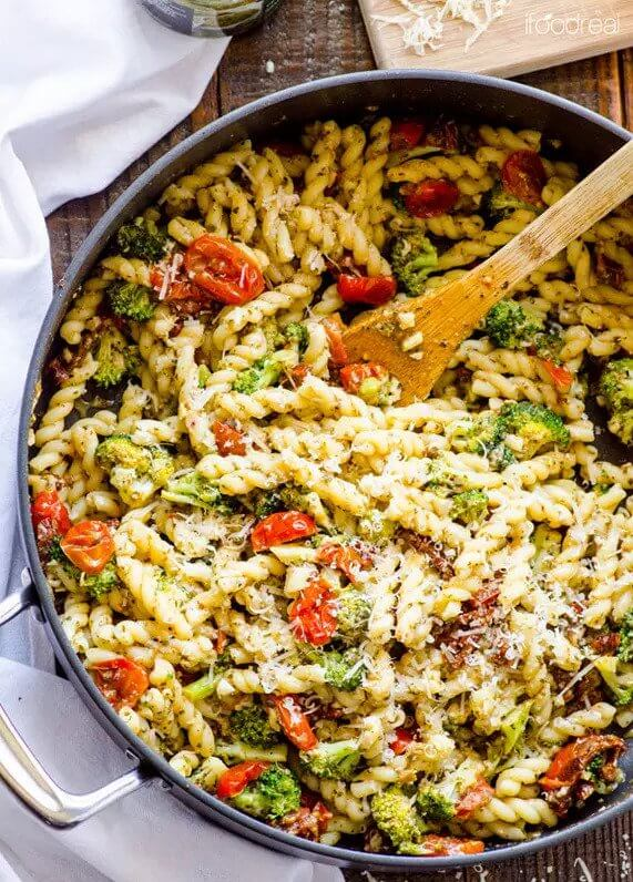 17. One Pot Pasta with Pesto, Grape Tomatoes & Parmesan