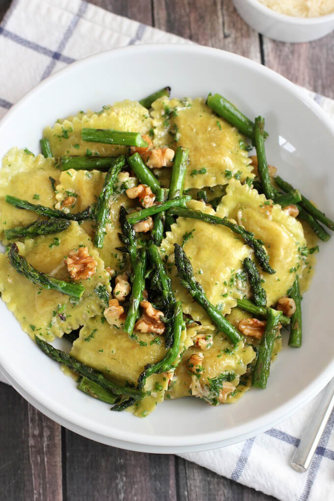 17. Ravioli with sauteed asparagus and walnuts