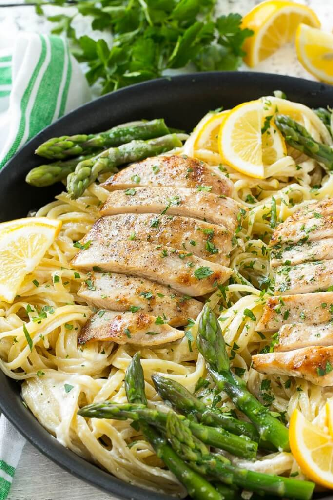 19.Lemon Butter Asparagus Pasta with Grilled Chicken
