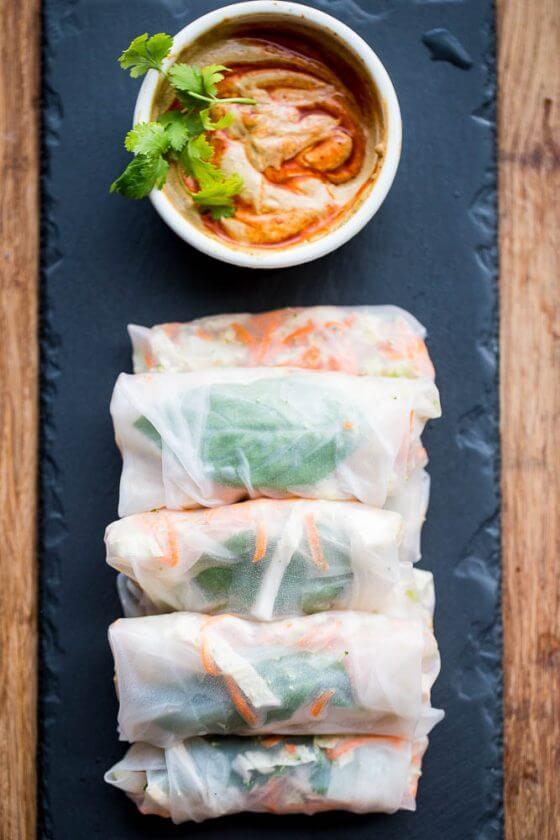 19.Thai Chicken Summer Rolls with Spicy Sauce