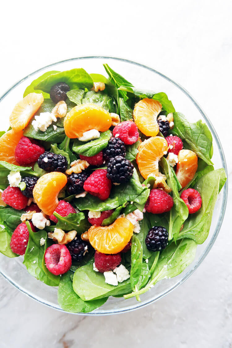 2. Berry Orange Spinach Salad with Citrus Balsamic Vinaigrette
