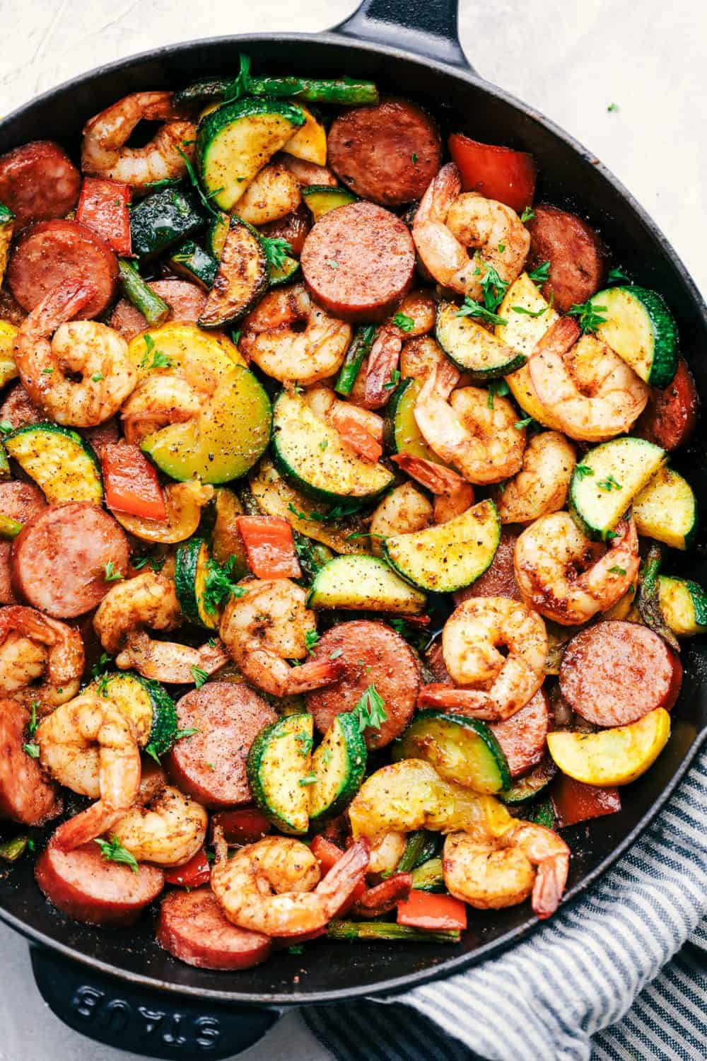 2. Cajun Shrimp and Sausage Vegetable Skillet