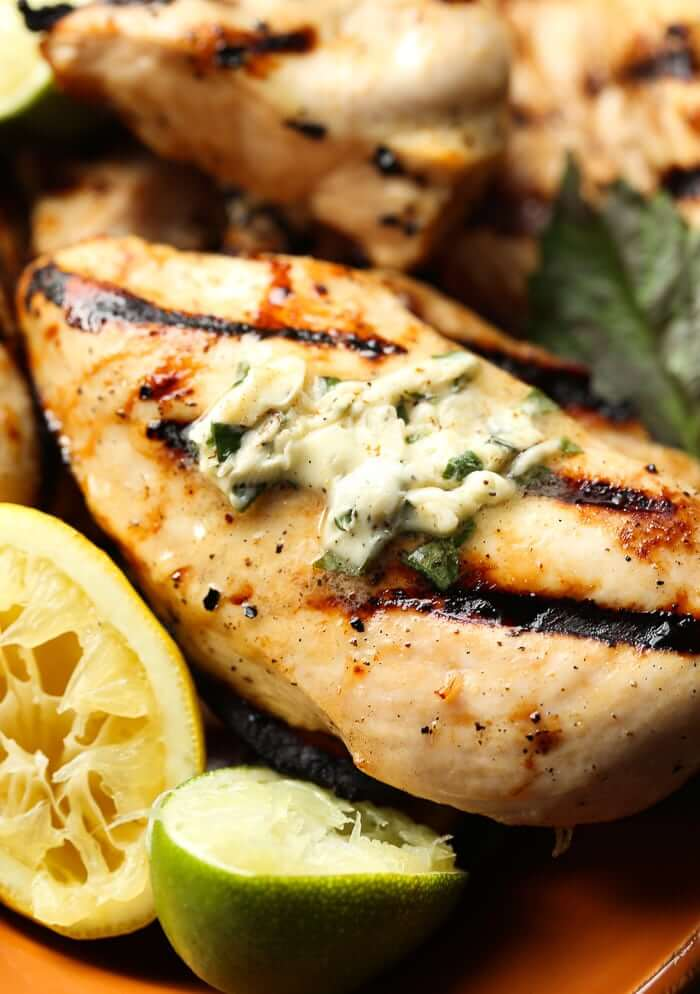 2. Honey Citrus Grilled Chicken with Basil Butter