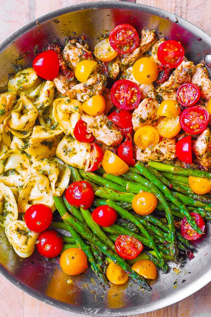 20. One-Pan Pesto Chicken, Tortellini, and Veggies, Asparagus, Tomatoes