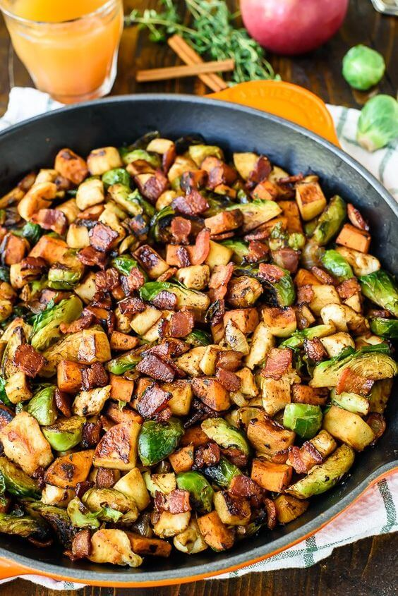 21. Chicken Apple Sweet Potato Skillet with Bacon and Brussels Sprouts