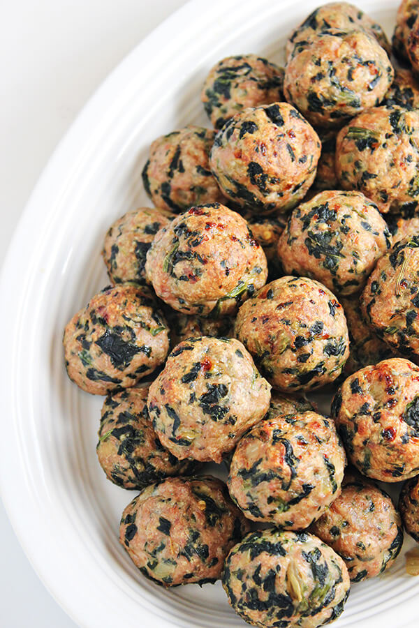 22. Baked Turkey Meatballs with Spinach