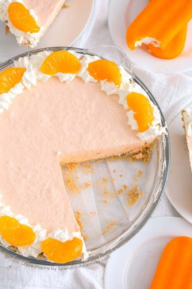 22.No Bake Orange Creamsicle Cheesecake Pie