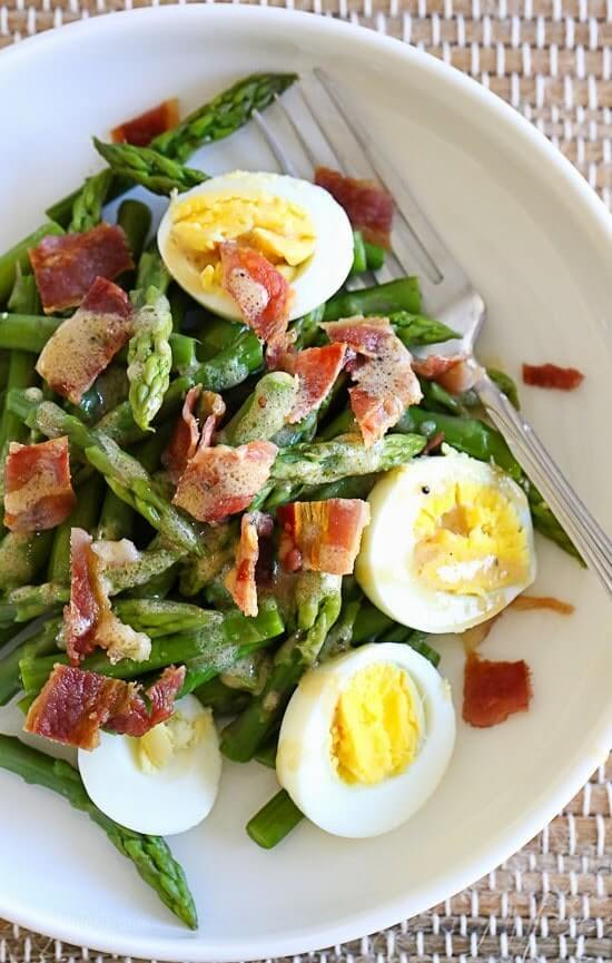 23. Asparagus Egg and Bacon Salad with Dijon Vinaigrette
