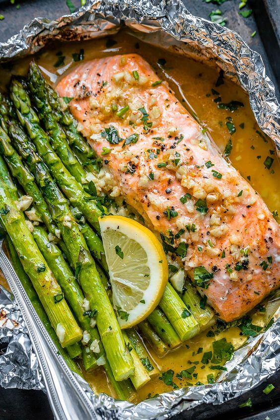 24. Salmon anad Asparagus Foil Packs with Garlic Lemon Butter Sauce