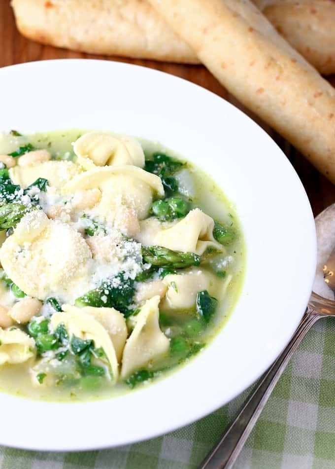 3. Spring Minestrone with Tortellini soup rv