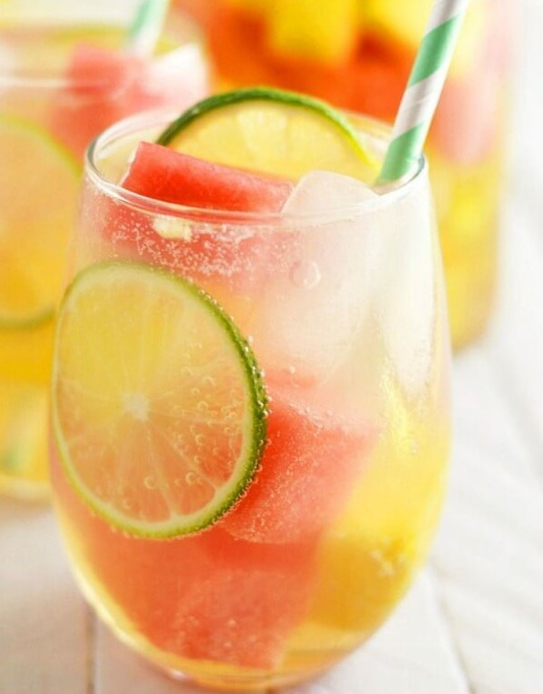 3. Summer Sangria with Watermelon and Pineapple