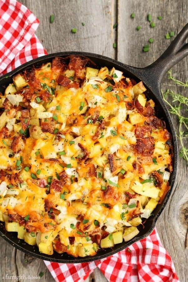 4. Cheesy Grilled Skillet Potatoes with Bacon and Herbs
