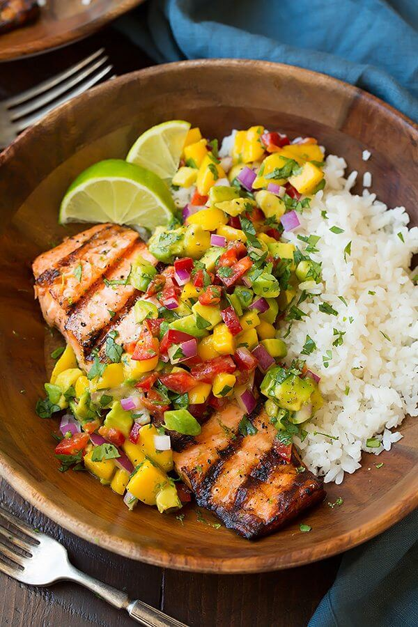 4.Grilled Lime Salmon with Mango-Avocado Salsa and Coconut Rice