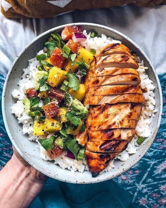 4.Mango BBQ Chicken with Mango Salsa and Rice