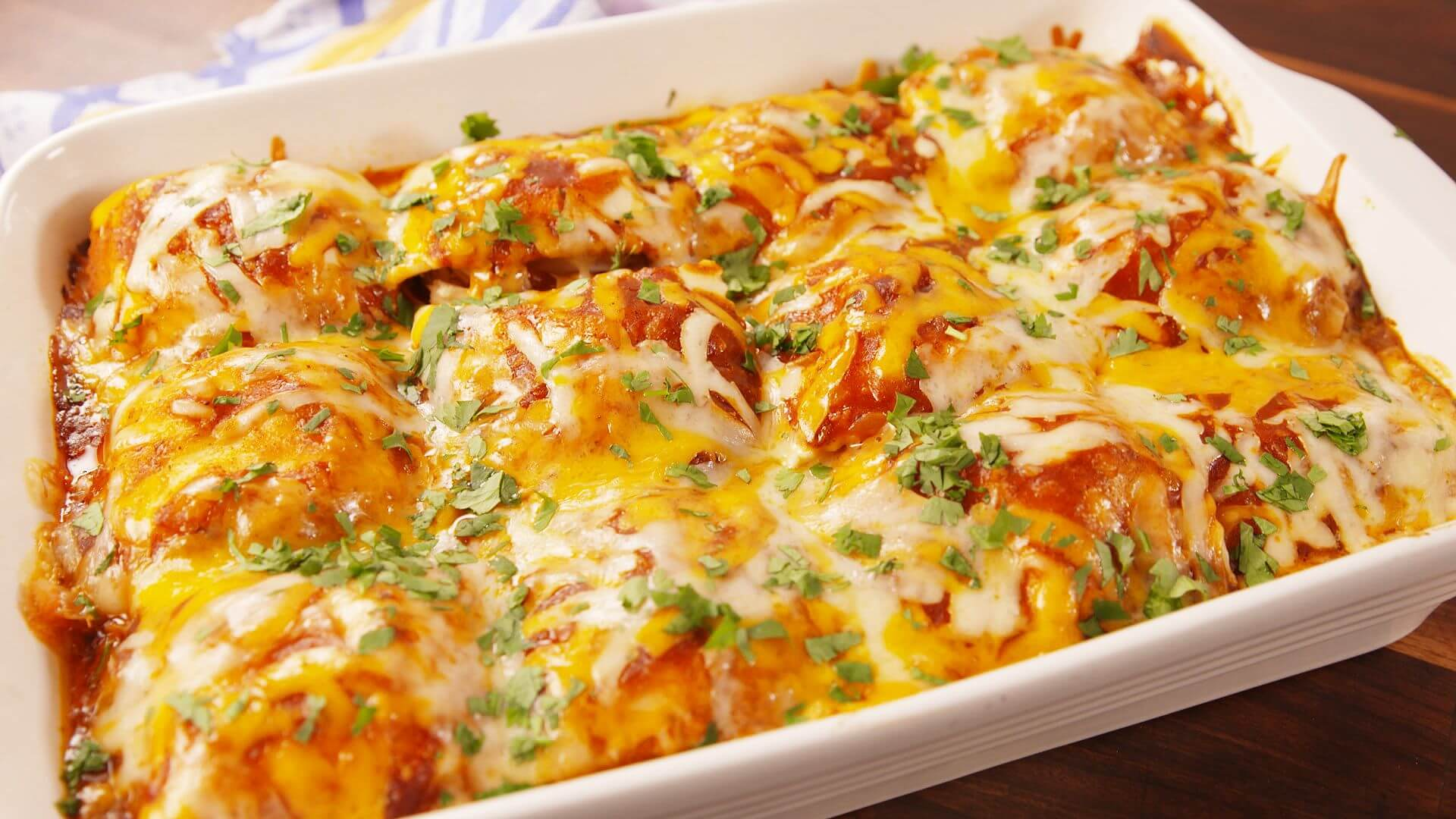 6. Chicken Enchilada Ravioli Bake
