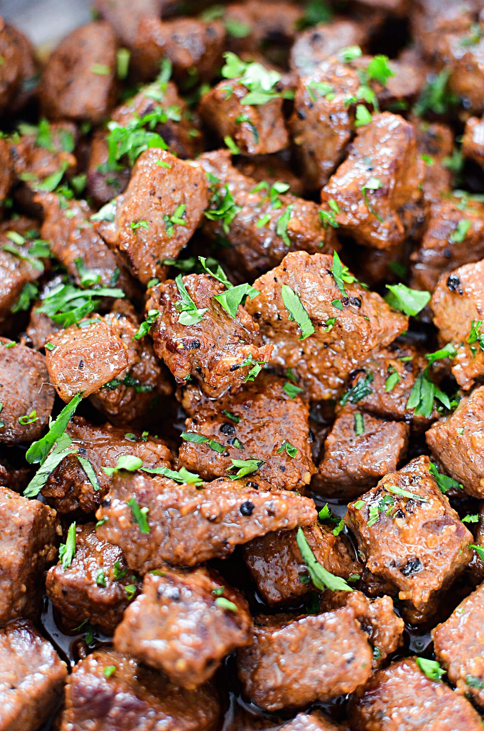 6.Juicy Garlic Butter Steak Bites