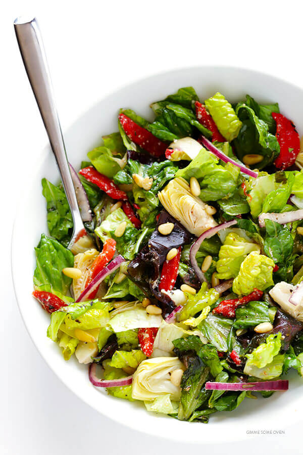 7. Lettuce, Pine Nut, Red Pepper and Artichoke Salad
