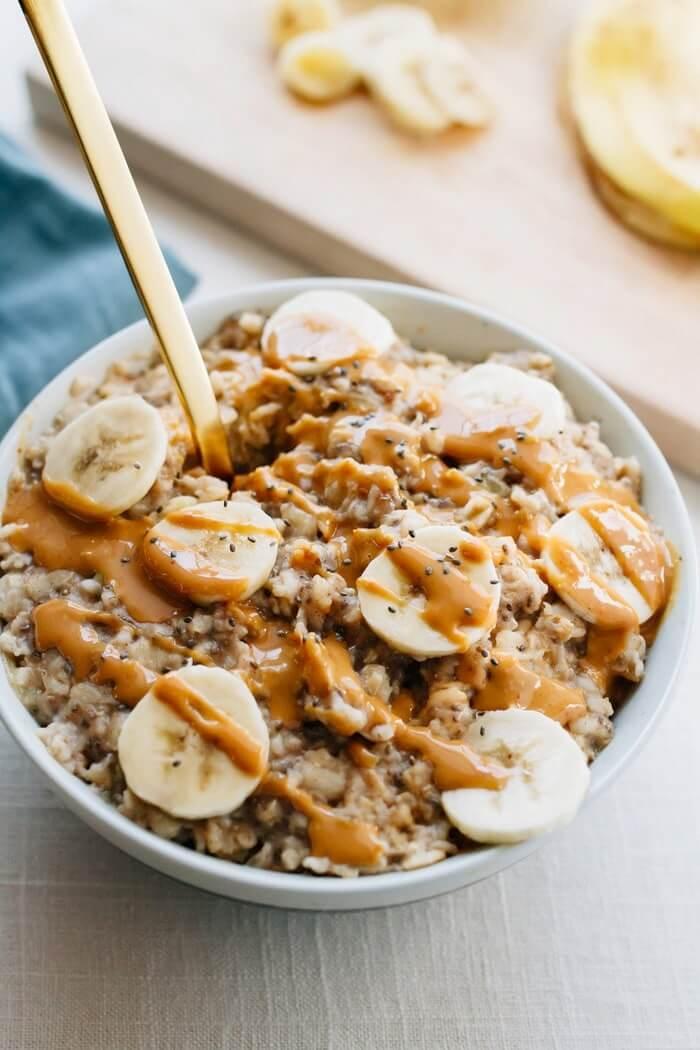 7. Peanut Butter Banana Chia Oatmeal